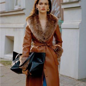 UO Glam Faux-Fur Trim Coat